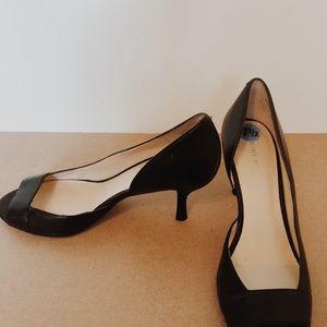 Nine West open toe black heels 7.5